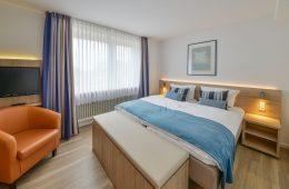 Doppelbett im Appartment Dünenblick in Meyenburg & Gerds Höft auf Juist